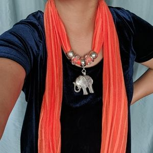 Necklace scarf with elephant pendant